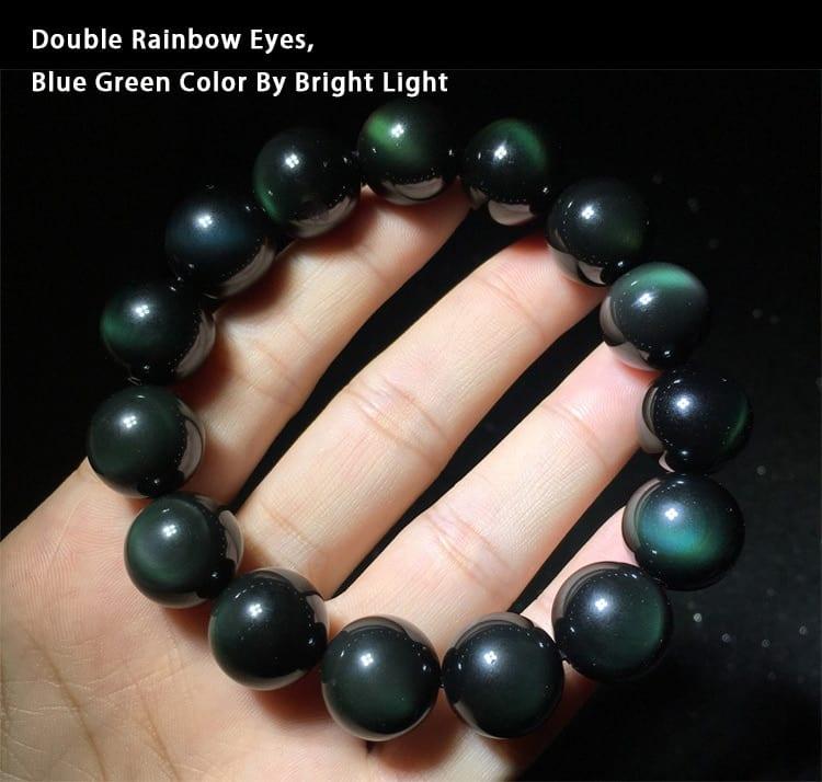 Karkötő Genuine Rainbow Bracelet Green Color Eyes Natural Stone Obsidian Beads Bracelets For Men And Women 8-18mm Lucky Buddha Jewelry