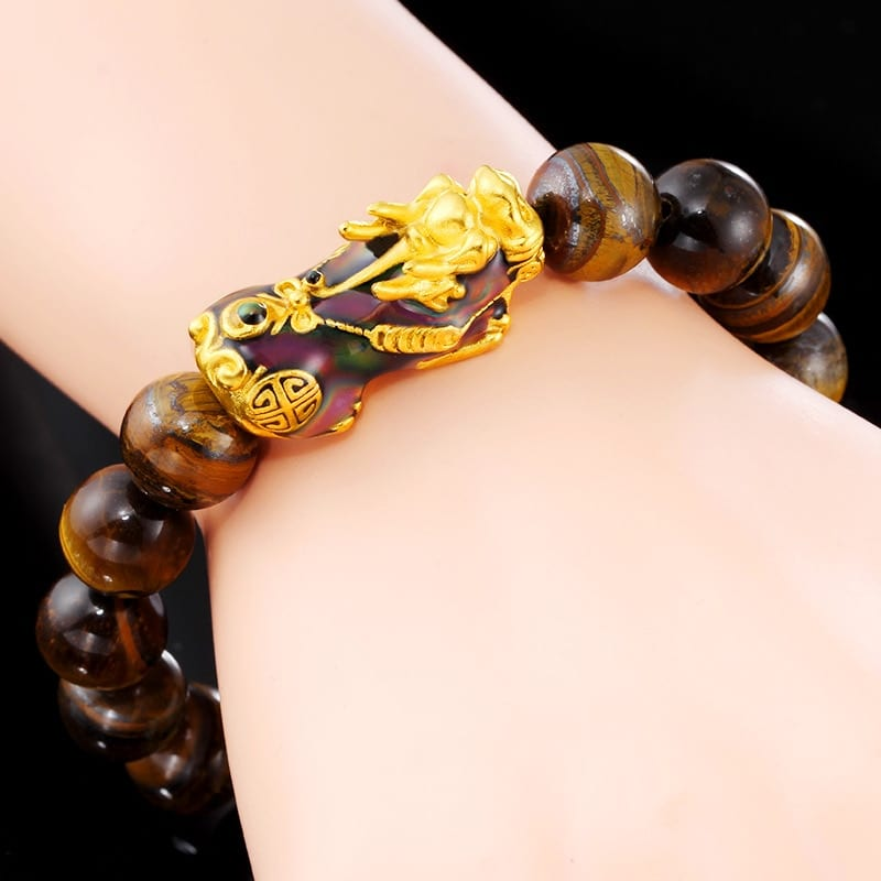 Karkötő Natural Tiger Eye Beaded Mens Bracelet With Brave Troops Thermochromic Pixiu Charm Strand Bracelets Handmade Jewelry